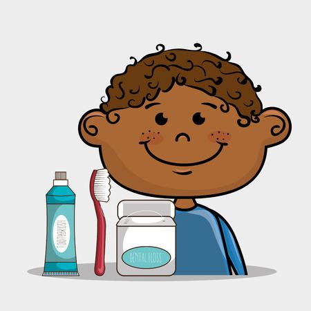 pasta de dientes: feliz niño sonriente de la historieta con el cuidado dental implementa sobre un fondo blanco ilustración vectorial