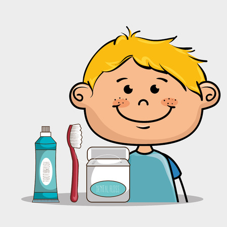 implements: happy smiling cartoon boy with dental care implements over a white background vector illustration