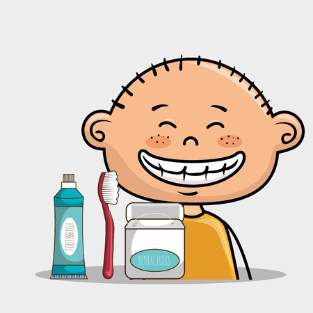 happy smiling cartoon boy with dental care implements over a white background vector illustration