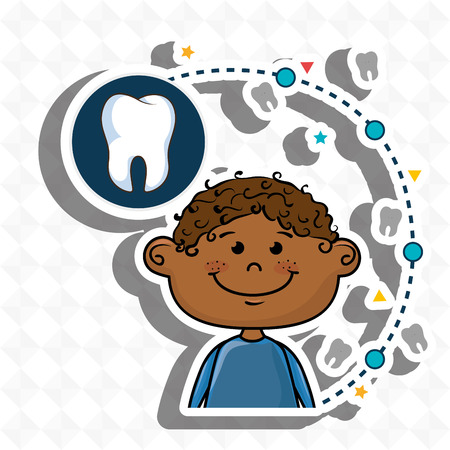 smiling child over a green background with an icon of a tooth in a dark blue circle