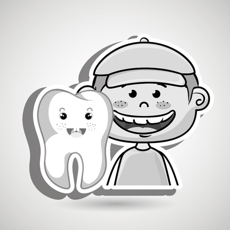 bog: cartoon smiling  kid with a cap and a bog tooth on his side  over a white background, vector illustration