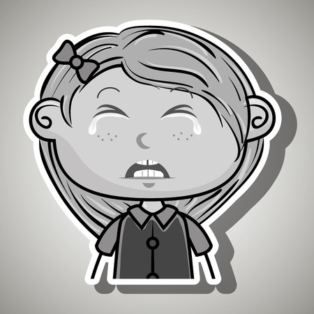frontal: crying cartoon blonde girl with frontal view over a white background,vector illustration