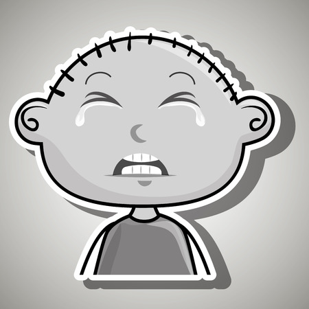 anger kid: crying cartoon little boy over a white background,vector illustration