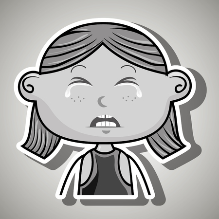 emotional pain: crying cartoon ginger girl with frontal vier over a white background,vector illustration Illustration