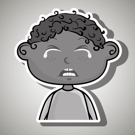 emotional pain: crying cartoon little boy over a white background,vector illustration