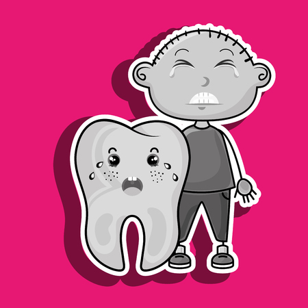 mouth pain: crying cartoon boy with a big cartoon tooth with a toothache Illustration