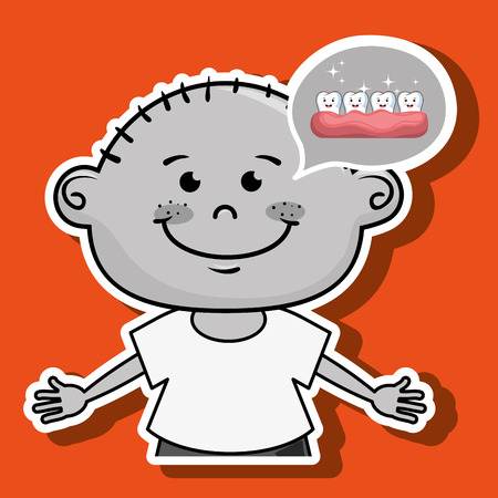 beautiful men: smiling cartoon boy wearing coloured clothes with a cloud above and teeth over a grey and white background vector illustration Illustration