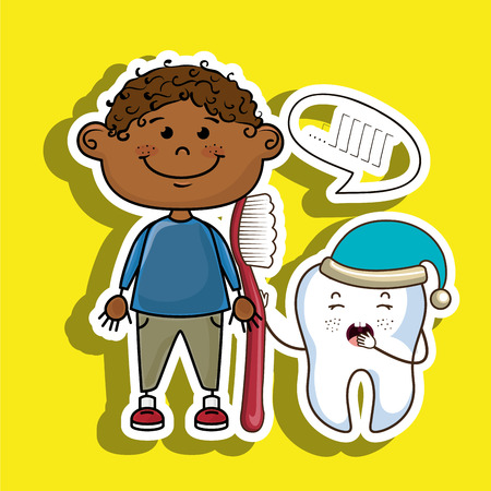 background next: smiling cartoon child wearing coloured clothes holding a toothbrush next to a cartoon sleepy tooth with a hat and a text cloud above it over a colored background vector illustration Illustration