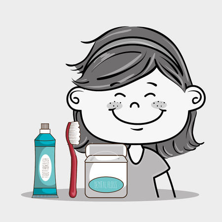 implements: happy smiling cartoon girl wiht dental care implements over a white background vector illustration