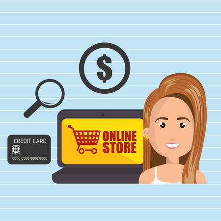 len: cartoon woman next to a laptop with an online store message, credit card,len and money symbol over a blue background vector illustration