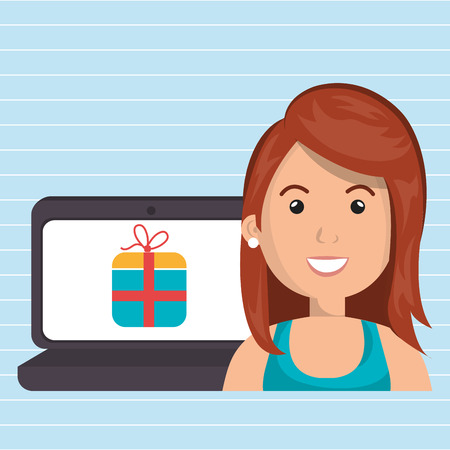 cartoon woman wearing a blue shirt next to a laptop with a gift in the screen over a blue background vector illustration