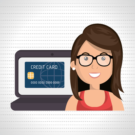 credit card business woman: cartoon woman with eyeglasses next to a laptop and a credit card in the screen over a white background vector illustration