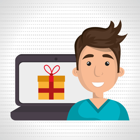 big screen: cartoon man next to a laptop and a big coloured gift in the screen  over a white background vector illustration