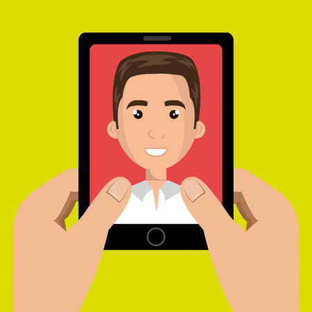 answering: cartoon hands holding a black smartphone over a green background with a cartoon business man in the screen over a red background vector illustration Illustration