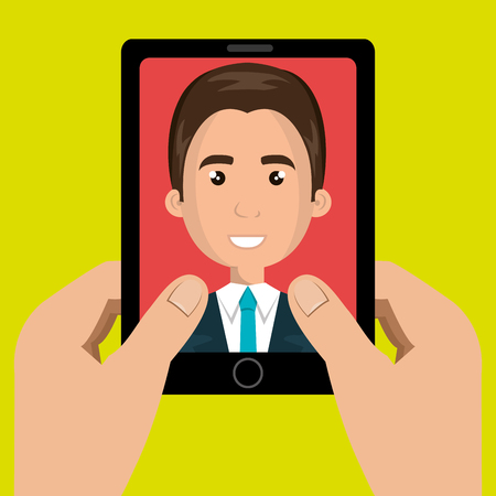 answering phone: cartoon hands holding a black smartphone over a green background with a cartoon business man in the screen over a red background vector illustration Illustration