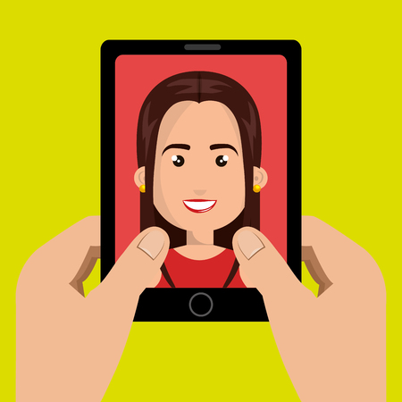 answering phone: cartoon hands holding black smartphone over a green background with a business woman in the screen over a red background vector illustration Illustration