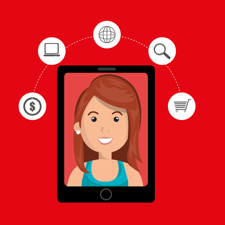 woman shopping cart: black smartphone with a cartoon woman in the screen with money,laptop,world map,len and shopping cart above her over a red background vector illustration