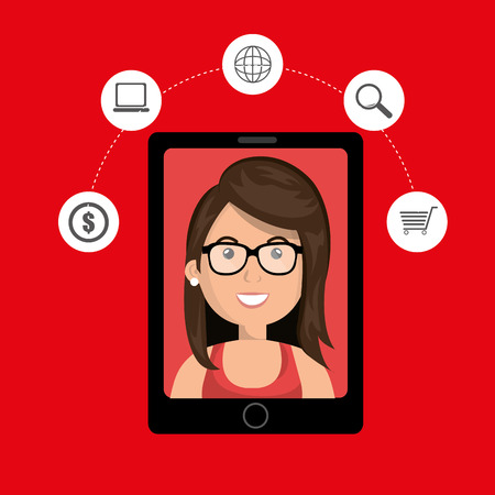 answering: black smartphone with a cartoon woman in the screen with money,laptop,world map,len and shopping cart above her over a red background vector illustration