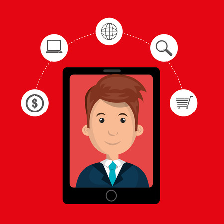 answering: black smartphone with a cartoon man in the screen and money,world map,shopping cart and lens symbols above over a red background vector illustration