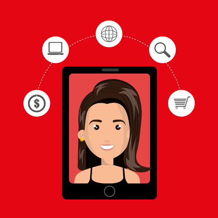 len: black smartphone with a cartoon woman in the screen with money,laptop,world map,len and shopping cart above her over a red background vector illustration