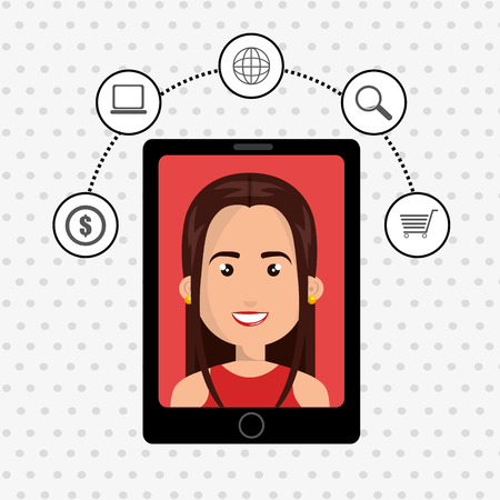 woman shopping cart: black smartphone over a white background with a cartoon woman in the screen over a red background and money,laptop,world map,lens and shopping cart symols above vector illustration Illustration