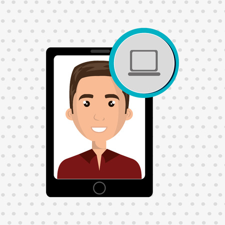 red shirt: black smartphone with a cartoon man in the screen wearing a red shirt and a laptop above in a blue circle over a white background vector illustration