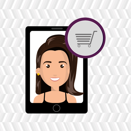 black shirt: black smartphone with a cartoon woman in the screen wearing a black shirt and a shopping cart above in a purple circle over a white background vector illustration