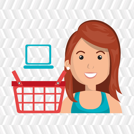 cartoon ginger woman next to a red shopping basket and a blue laptop above over a white background vector illustration