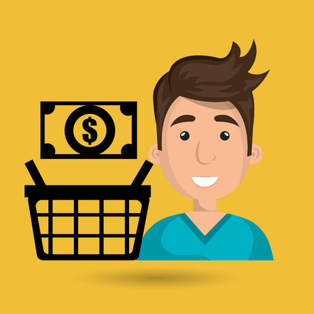 blue shirt: cartoon man wearing a blue shirt next to a shopping basket and cash above over a yellow background vector illustration Illustration