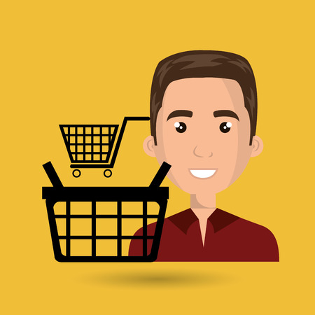 debt management: cartoon man wearing red shirt next to a black shopping basket and a shopping cart above over a yellow background vector illustration