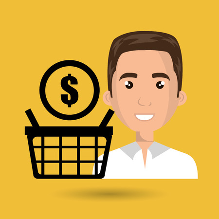 cartoon man wearing white shirt next to a black shopping basket and a money symbo, above over a yellow background vector illustration