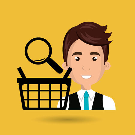 cartoon business man wearing a suit and a tie next to a black shopping basket and a lens above over a yellow background vector illustration
