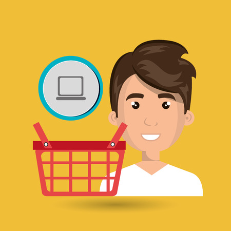 cartoon man wearing white shirt next to a red shopping basket and a laptop symbol in a circle above over a yellow background vector illustration Illustration