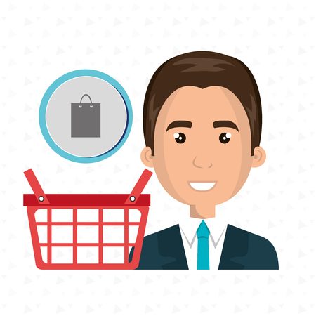 shoping bag: cartoon business man wearing a suit next to a red shopping basket and a shoping bag above over a white background vector illustration