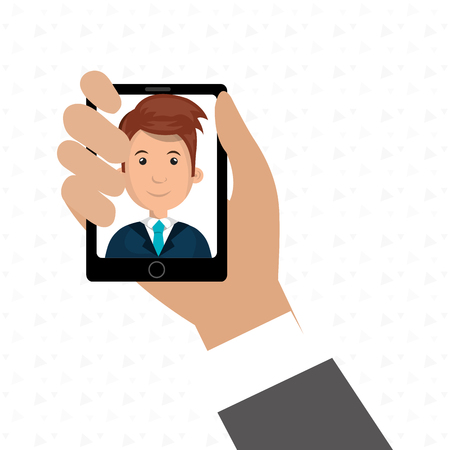 answering phone: cartoon business man hand holding a black smartphone over a white background with a cartoon business man in the screen wearing a suit vector illustration