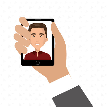cartoon business man hand holding a black smartphone over a white background with a cartoon business man in the screen wearing a suit vector illustration