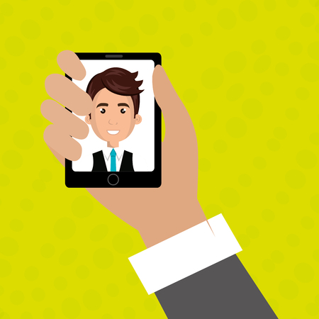 answering phone: cartoon business man hand holding a black smartphone over a green background with a cartoon business man in the screen wearing a suit over a white background vector illustration