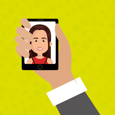 answering phone: cartoon business man hand holding a black smartphone over a green background with a cartoon business woman in the screen over a green background vector illustration Illustration