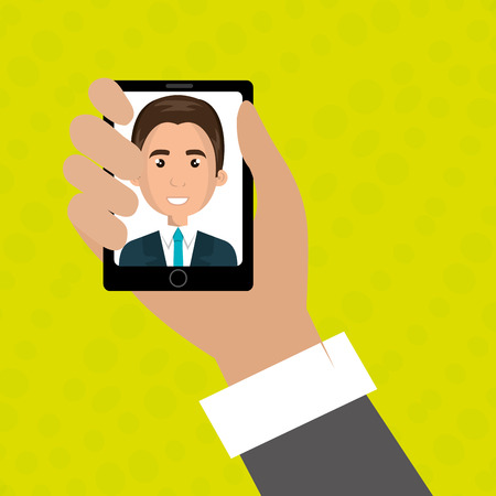 answering: cartoon business man hand holding a black smartphone over a green background with a cartoon business man in the screen wearing a suit over a white background vector illustration