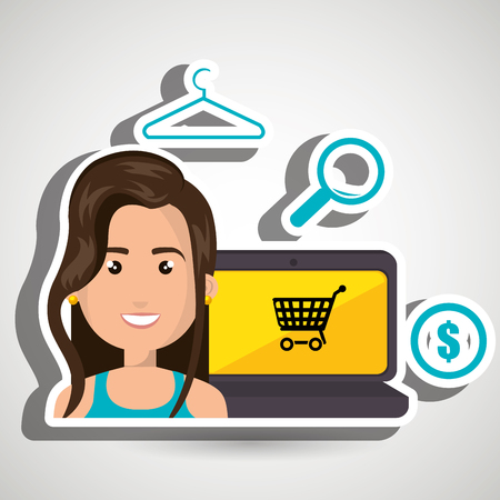 money symbol: cartoon woman next to a laptop with an online store message, money symbol,len and clothespin over a blue background vector illustration