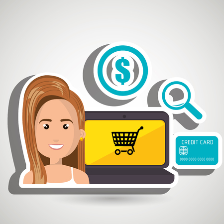 money symbol: cartoon woman next to a laptop with an online store message, credit card,len and money symbol over a blue background vector illustration