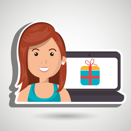 blue shirt: cartoon woman wearing a blue shirt next to a laptop with a gift in the screen over a blue background vector illustration