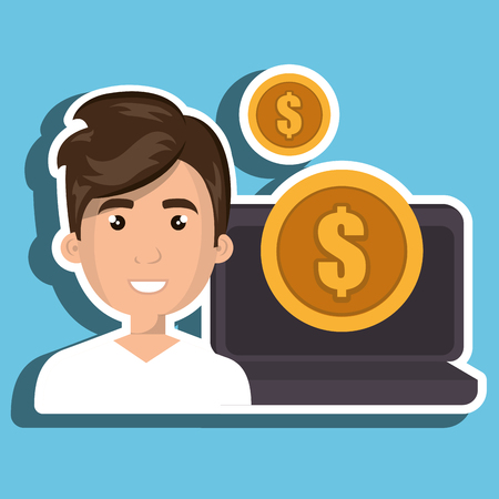 gold coin: cartoon man next to a laptop and a big gold coin over a white background vector illustration
