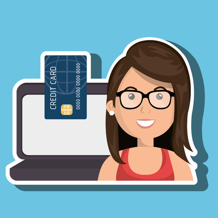woman credit card: cartoon woman with eyeglasses next to a laptop and a credit card in the screen over a white background vector illustration