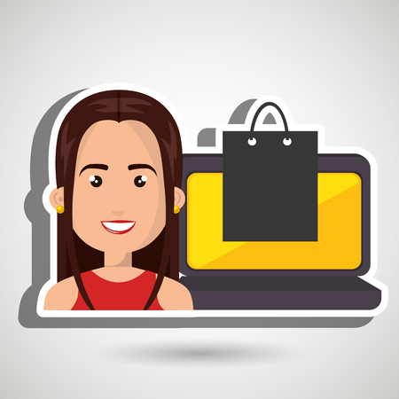 red shirt: cartoon woman wearing a red shirt next to a laptop and a black shopping bag over a blue background vector illustration