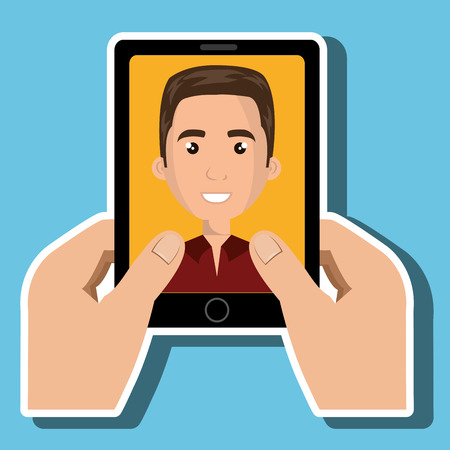 answering phone: cartoon hands holding an smartphone with a cartoon man inside the screen wearing coloured clothes over a white background vector illustration Illustration