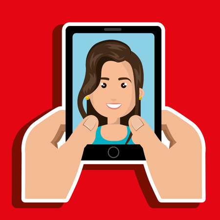 cartoon hands holding black smartphone over a green background with a business woman in the screen over a red background vector illustration Illustration