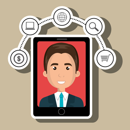 answering phone: black smartphone over a white background with a cartoon business man in the screen with money,laptop,world map and shopping cart symbols above vector illustration Illustration