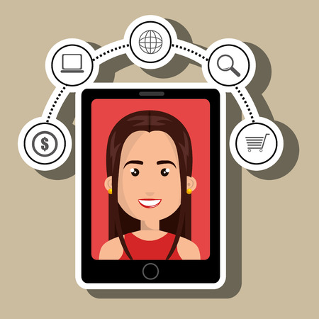 answering phone: black smartphone over a white background with a cartoon woman in the screen over a red background and money,laptop,world map,lens and shopping cart symols above vector illustration Illustration