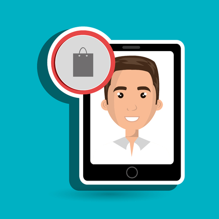 debt management: black smartphone with a cartoon man in the screen wearing a white shirt and a shopping bag above in a red circle over a white background vector illustration